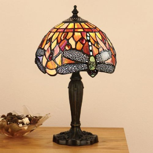 Dragonfly Flame Small Table Lamp T077TS (Tiffany style)
